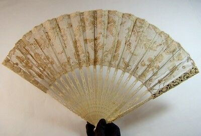 Rare antique 18thC french carved  catgut lace fan/ peacock, dog and duck