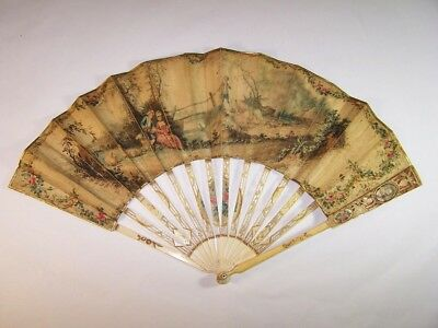 Rare antique 18thC french carved fan/ portraits miniature paintings