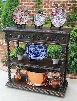 Antique French Oak Gothic Renaissance Barley Twist Server Sideboard 3-Tiers