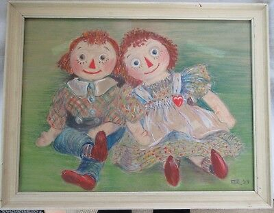 Original Art Vintage Pastel Painting Raggedy Ann & Andy Dolls Signed 1959 Framed