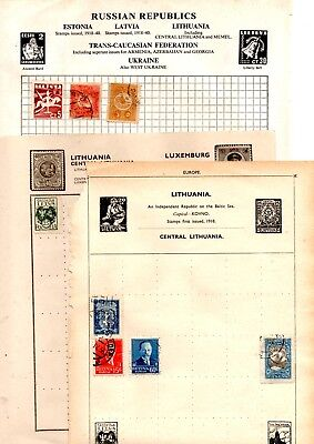 Lithuania Letuva stamps x 57 all older copies loose and album pages