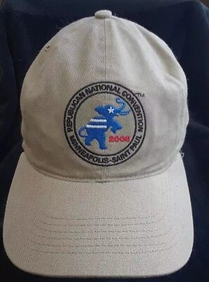 2008 Republican National Convention Embroidered Strapback Hat McCain Palin Tan