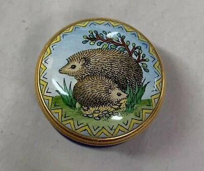 Halcyon Days Enamel Small Covered Threaded Box Hedghogs
