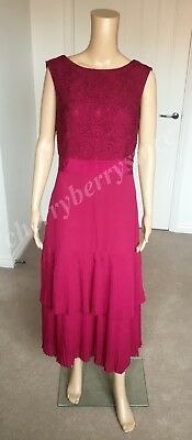 4362250a7ef1 Rrp £349 TED BAKER Jirin Lace Body Pleated Tier Maxi Dress Burgundy size 3  UK