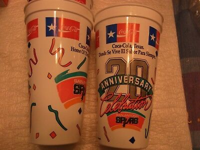 Coca-Cola Texas 20Th Anniversary San Antonio Spurs Plastic Cups 3 Small 4 Large