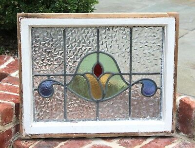 Antique English 5-Color Leaded Framed Stained Glass Window TULIP ~~Last One~~