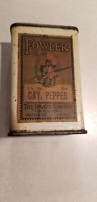 Rare Fowler  Spice Paper Label Over Tin Waterloo Iowa Pilgrim Early