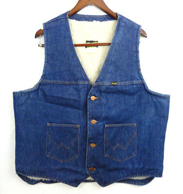Vintage 70s Wrangler Trucker Sherpa Lined Ranch Western Vest XL No Fault Denim