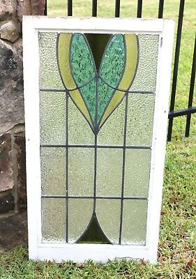 Antique English 4-Color Leaded Framed Stained Glass Window LARGE Art Deco #5