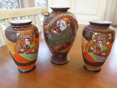 3 Antique SATSUMA Made in Japan VASES One with Dragon Head