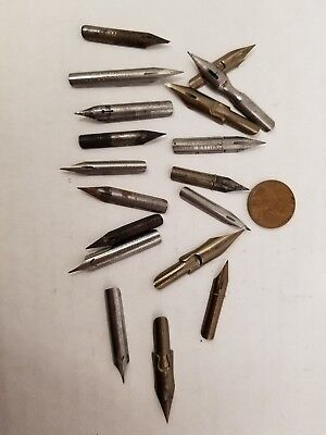 18 Assorted Vintage Fountain Pen Points Nibs Tips
