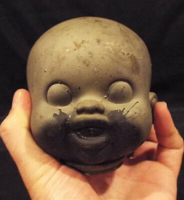 Antique Doll Head Mold Creepy Vintage Industrial Factory Steampunk Metal Rare