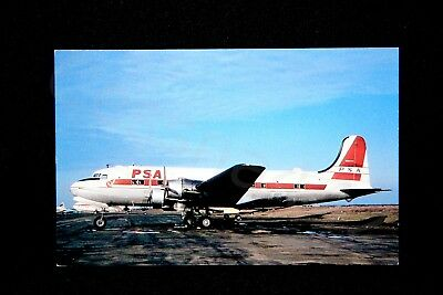 PSA Vintage DC-4 Postcard Pacific Southwest Airlines N88747 NEW Gift RARE