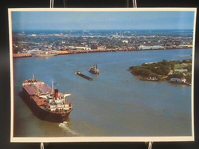 Postcard~View~Port~of~ New~Orleans~La.~Mississippi~River~Various~River~ Boats