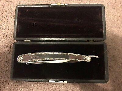 Wade And Butcher Sterling Straight Razor With Case, Dated 1897.