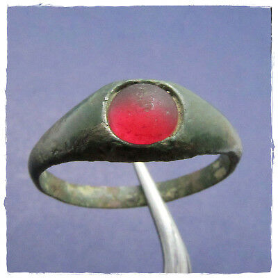 ** RED STONE ** Ancient BRONZE Roman ring !!!