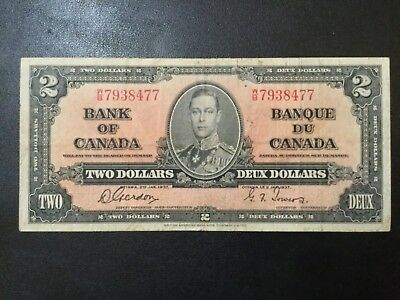 1937 Canada Paper Money - 2 Dollars Banknote!