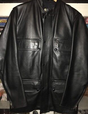 GOLDTOP Vintage Leather Jacket Cafe Racer 70's Police Styled By GODFREY Sz M
