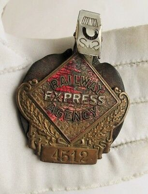 Vintage Bronze Railway Express Agency Badge Old with Leather back and clip #4512