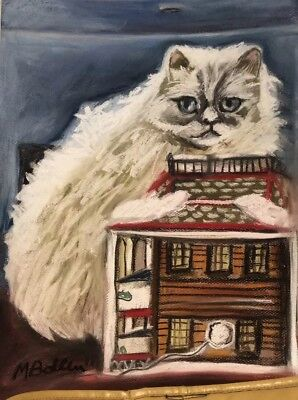 Persian Cat Pastel Drawing Original By MBollen Christmas Paper Signed