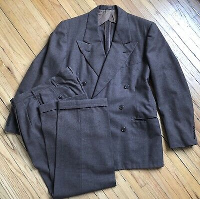 VTG 1940s Devonshire Double Breasted Brown Wool Suit Sz-40