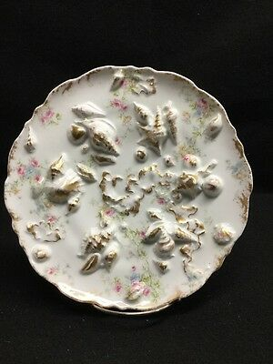 T. Haviland Limoges Pink Rose High Relief Shell Dish Rare Castle Mark Ca.1892