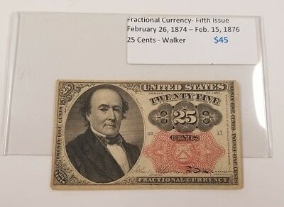 1874-1876 5th Issue Fractional Currency 25 cents note Walker