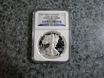 2010 W PF69 ULTRA CAMEO EARLY RELEASES 1oz SILVER EAGLE COIN NGC GRADED 25 YEARS