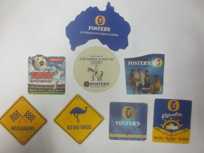 8 different FOSTERS Brewery OVERSEAS Issue BEER Coasters collectable No F7