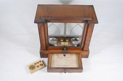 Antique H. Kohlbusch Analytical Balance Scale Mahogany Glass Cabinet Apothecary