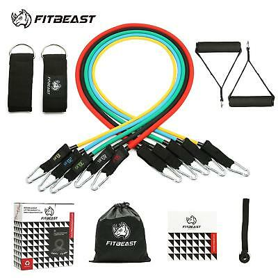 Exercise Resistance Bands Set, Fitness Stretch Workout 11PC With Equipment