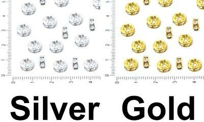 30pcs Crystal Rhinestone CZ Micro Pave Cubic Zirconia Crystal Large Hole Spacer
