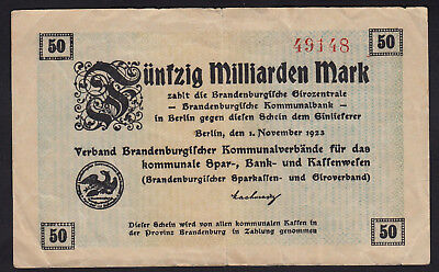 1923 50 Billion Mark Brandenburg Germany Vintage Emergency Paper Money Banknote