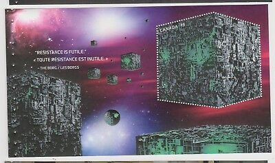 2017 Canada Star Trek Borg Cube Ship Large $5 Stamp Sc # 2984a Souvenir Sheet