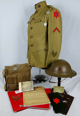 "IDENTIFIED WWI US 6th ""RED STAR"" DIVISION TUNIC & INSIGNIA PAINTED HELMET GROUP"