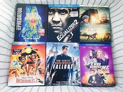 Blu-Ray Movie Lot of 6 - The Predator, The Equalizer 2, Fallout, Incredibles 2