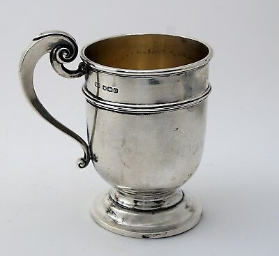 Sterling SILVER ANTIQUE ENGLISH SHEFFIELD HALF PINT TANKARD or Christening Cup