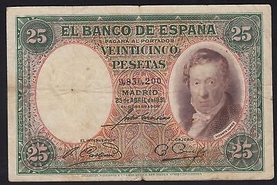 1931 25 Pesetas Spain Vintage Paper Money Banknote Currency Rare Antique Spanish