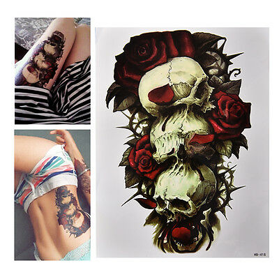 Skull With Top Hat And Rose Temporary Tattoo 209 Picclick