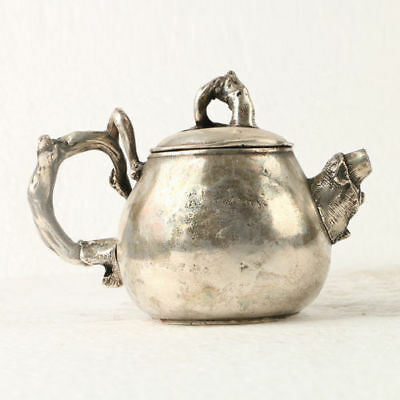 China Exquisite Silver Copper Teapot Carved Plant