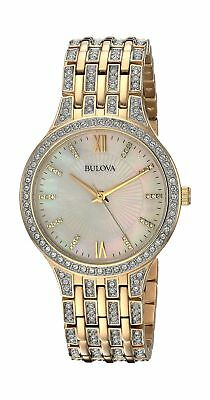 Bulova Women's 32mm Goldtone Crystal Mother of Pearl Dial Bracelet Watch gold