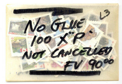 "CANADA 100 x ""P"" STAMPS NO GLUE UNCANCELLED POSTAGE FV$90.00 LOT 3"