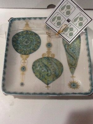 222 Fifth Constantina Turquoise Christmas Ornaments 4 New Appetizer Plates