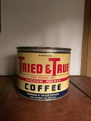 Rare Vintage Antique Keywind Coffee Tin Can Tried & True 1 Lb Chicago Il