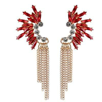 Women Fashion Party Cocktail Dangle Long Tassels Holiday Red Rhinestone Earrings