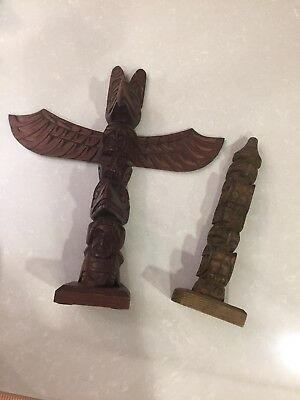 Pair Of Antique North West Coast Native American Totem Poles