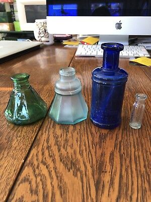 Ancient antique octagonal inkwells & Round emerald Green Cobalt Aqua
