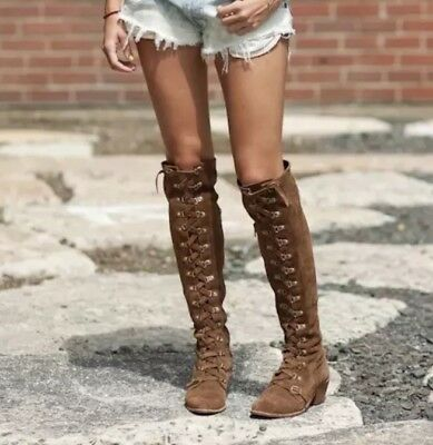 422cf7c327b Free People X Jeffrey Campbell Johnny Tall OTK Brown Suede Lace Up Boots Sz  7