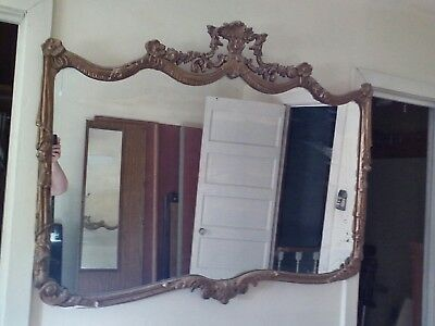 """Vtg Antique Gold tone Ornate Carved Wall Mirror.. LARGE overall 3'x3'10"""""""