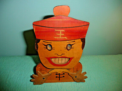 Antique  Wood Figural Mechanical Bank Cdgc Made In Japan  Rare Never Seen